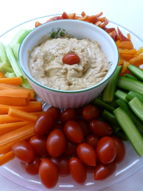 Sun Dried Tomato Dip with Cut Vegetables
