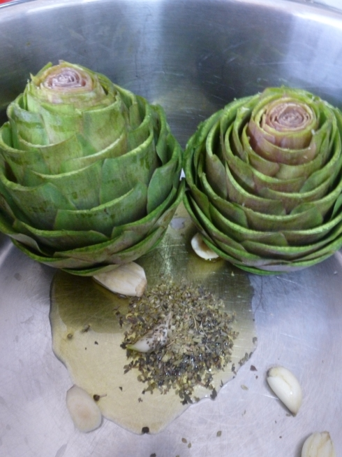 Artichokes Trimmed and Ready for Cooking