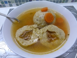 Stuffed matza balls in chicken soup